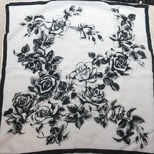Vintage black white square scarf floral roses